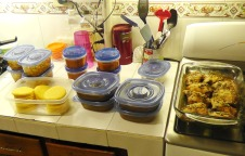 Back to the kitchen. Things are cool enough to put in the fridge - tortillas, salsa, beans, chicken soup, chicken meat for sandwiches or other dinners, baked chicken.