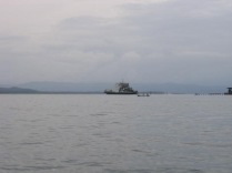 The car ferry is leaving Bocas town as we return
