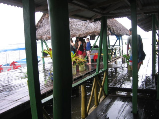 Lunch on the dock, and it was an excellent lunch! We encountered another group of equally drenched visitors.