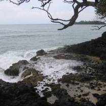 Beautiful rocky shore from an overlook above Red Frog Beach