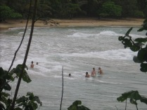 The young people we saw at lunch also came here, and they were having a wonderful time playing in the surf.
