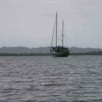 A sailboat moored in the water on the way to Red Frog