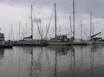 Sailboats moored near Red Frog