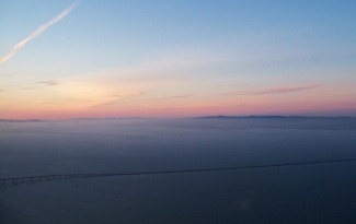 We approach the San Francisco area at sunset.
