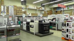 The appliance department - stoves, refrigerators along the walls, air conditioners and water heaters on the right. They didn't have dishwashers or clothes dryers in stock but are expecting some in soon. I had to be quick with this photo because the employee who works there helped me that first night when I had to buy everything for my house. We have been friends ever since.
