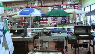 Near the garden department - BBQ's, outdoor furniture, and wall full of all the coolers you could possibly want.