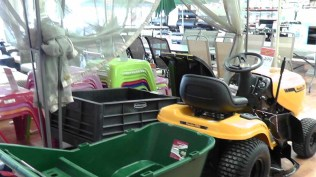 You can also buy a riding lawn mower, a wheelbarrow, and a plastic chair in about any color you could want.
