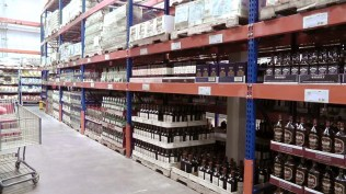 the liquor aisle. The wine aisle is behind it.
