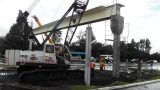 When we went to Boquete to the bank, they were in the process of placing the big steel beam for a pedestrian walkway.