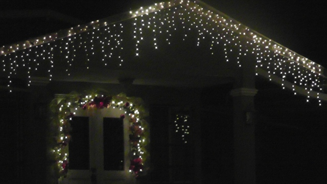 Our neighborhood has many houses decorated with cheerful Christmas lights, and others can bee seen all over town.