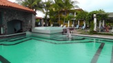 There are two pools, one on either side of the raised shallow area.