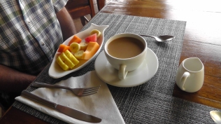 Breakfast starts with fresh fruit, and it was always perfectly ripe and wonderful. The coffee was strong and delicious.