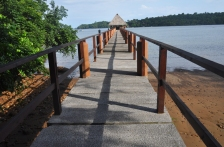 The dock leading out to the tiki hut.