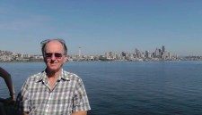 Joel on the deck as the Seattle skyline retreats behind us.