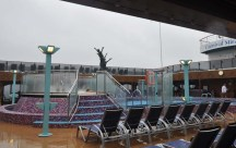 The chilly, gloomy weather didn't keep people out of the hot tub in the open area though.