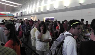 The lines of people in Dallas waiting to clear customs.