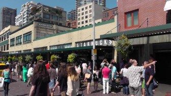 The very first Starbucks is in the market area.