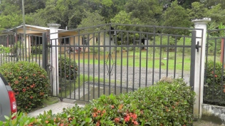 Many houses also have security gates/fences around the property. I like ours because it keeps the neighborhood dogs and roosters from visiting our yard. It also defines your living space so visitors will stand in the street and call, rather than walk up to your front door.