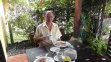 Breakfast on the patio at the hotel, lovingly prepared by the staff who treated us like family.