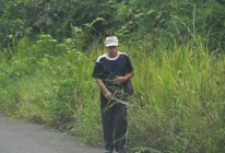 A man with his machete walks along the PanAmerican highway.