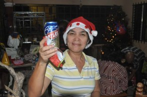 Haydeé, in Christmas party mode (or looking like it - that was actually my beer)