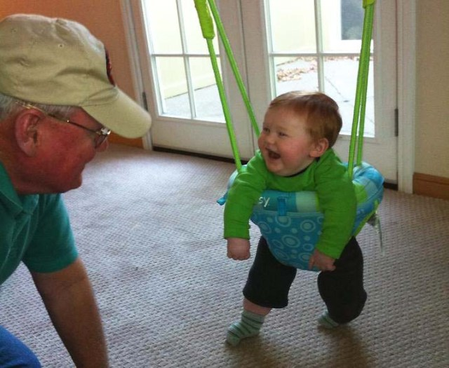 Camden plays with his paternal grandfather.