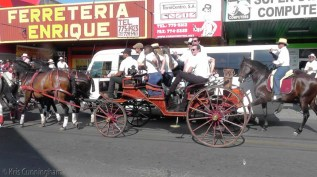 Activity increases, and a carriage and some horses go by.
