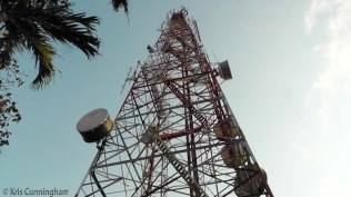 There are some large communication towers at the top.