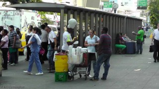 Panama City, Panama - interesting food vendor at the bus stop.