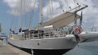 This beautiful sailboat was also docked along the waterway.
