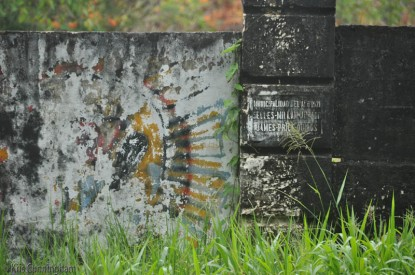 This is a bit of the wall around the cemetery in Bocas town. I'm not sure what it used to be, but now that it is faded and weathered I think it looks really interesting.