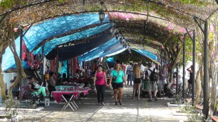 There is a lovely walkway with many vendors just beyond the plaza.