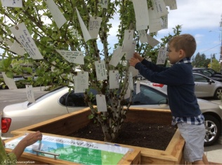"""There were a number of these trees in town. This one said """"I am inspired by... """" and you were supposed to write your answer on a piece of paper and hang it on the tree."""