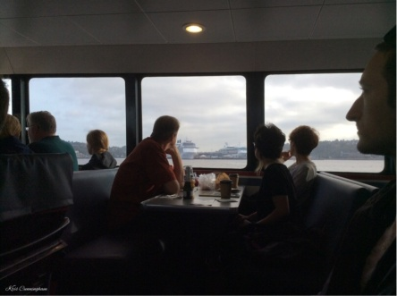 Breakfast on the boat as we pass the cruise ship dock.