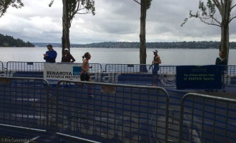The first woman crosses the finish line.