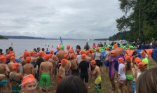 Results are in, but the award ceremony isn't for a while so we decide to go watch the kids race. Here they are getting ready for the swim, the first part of the event.