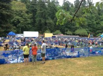 This is the transition area where gear was kept and contestants changed from wet suits to bicycles and then to running gear.