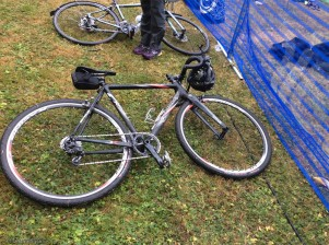 Elizabeth and I biked to the event which was much easier than trying to park a car. This is Drew's cyclo-cross racing bike which he let me ride while I was there! At first I couldn't even get on it but once I figured it out, it was great fun.