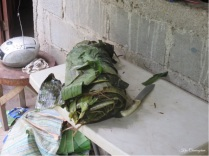 Boiled bundle of plantain leaves