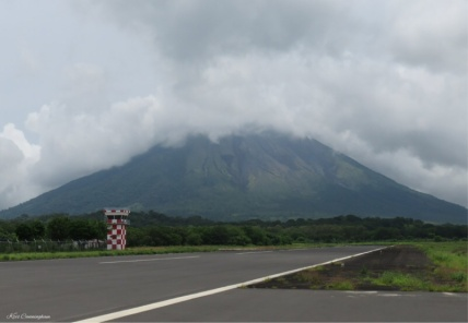 Airport photo of the day of the volcano as I return from our biking excursion.