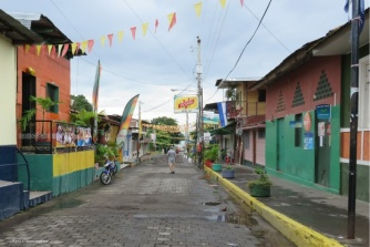 Walking down the main road around the island as it goes through Moyogalpa.