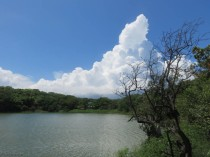 Thunderheads loom over the lagoon