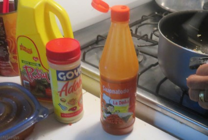 Red sauce, adobo, and vegetable oil.