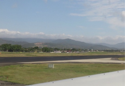 On the runway, ready to go. I remember falling in love with Panama the first time I saw those beautiful green mountains.