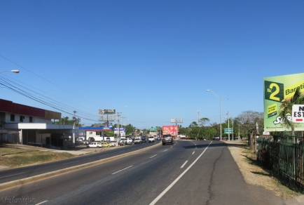 Coming in to Chitre under a bright blue sky and blazing sun.