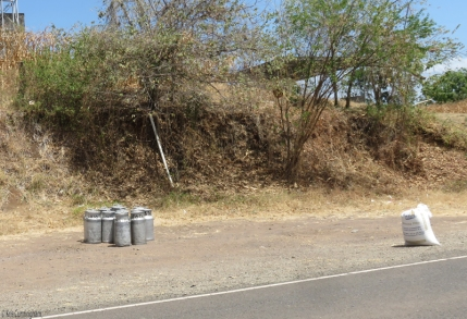Milk cans waiting for pickup were a frequent sight.