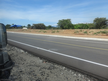 Leaving Santiago and heading west, there are large stretches where the new road looks ready for traffic. I appreciate the wide shoulders that will made biking safer and more fun.