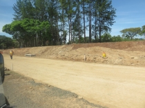 Other parts of the new road are still dirt.