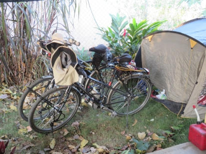 "The bikes sit in front of their ""home"" while they are here. They have spent so many nights in their tent that it does indeed feel like home to them, and they said they slept wonderfully."