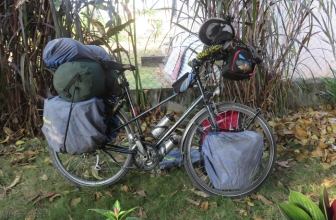 She has covers on her panniers to keep them cleaner, just a personal preference thing.
